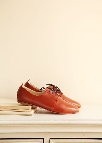 Cognac Leather Oxford Shoes