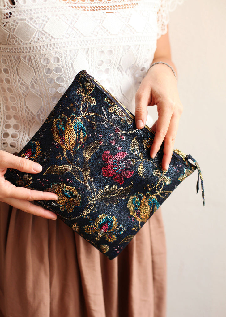 The Evening Clutch in Navy Floral