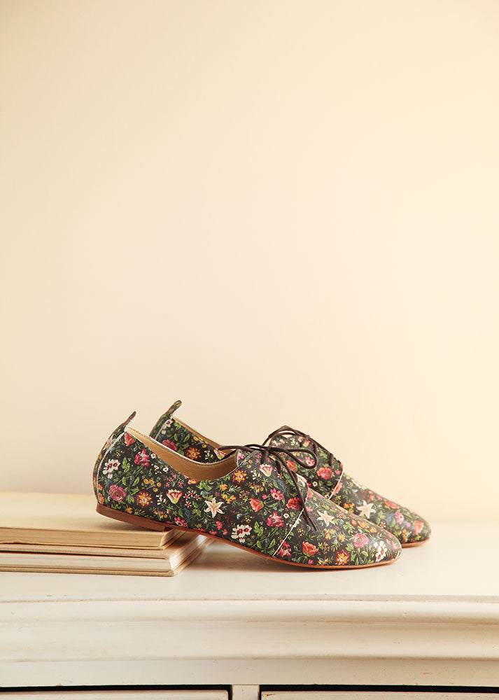 Floral Print Oxford Shoes