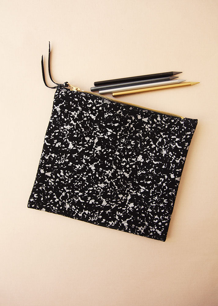 The Evening Clutch in Black Silver Marble