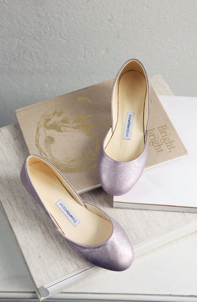 lavender gold shiny ballet flats in top view