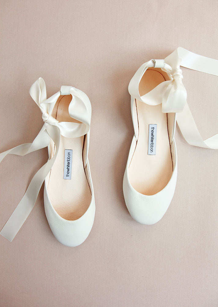 Ivory bridal ballet flats, top view