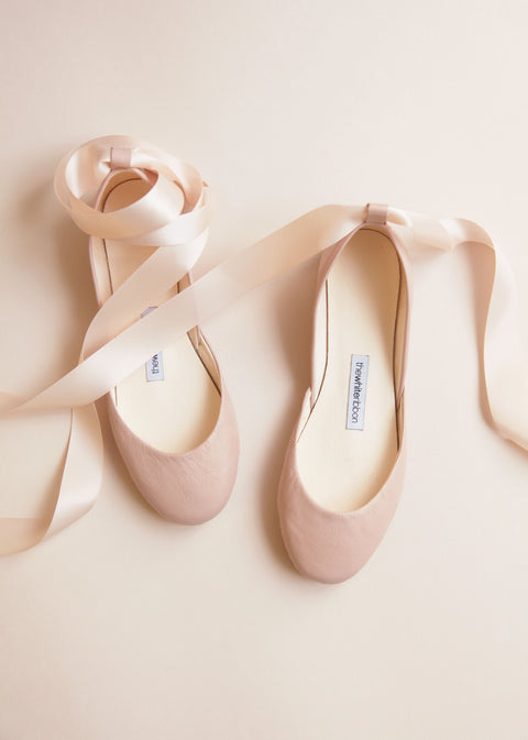 nude shade smooth leather ballerinas with matching satin ribbon from top