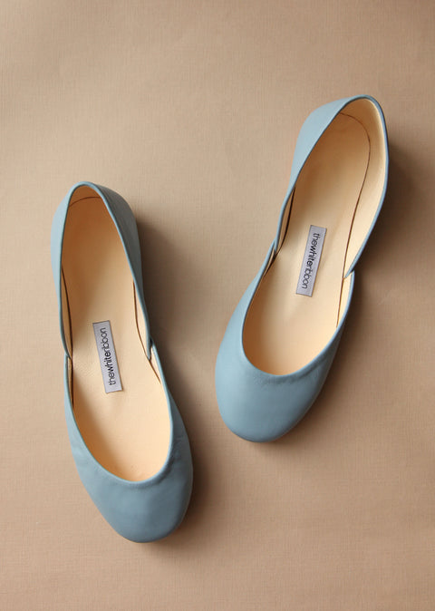 sky blue smooth leather ballerinas from top