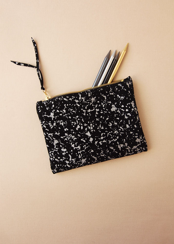 Black Silver Marble Clutch
