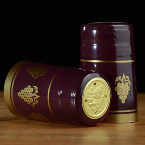 Shrink Caps - Burgundy with Gold Grapes Glossy 100 Count