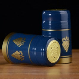 Shrink Caps - Navy Blue with Gold Grapes Glossy 100 Count