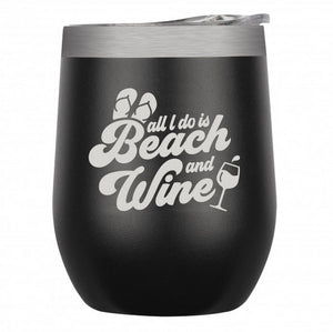 "Stainless Insulated Wine Tumbler – ""Beach and Wine"" in Black"