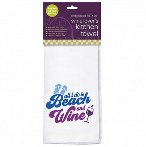 "Embroidered Kitchen Towel - ""Beach and Wine"""
