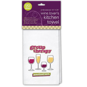 "Embroidered Kitchen Towel - ""Group Therapy"""