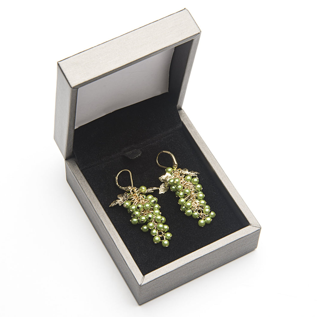 Grape Bunch Earrings - Green