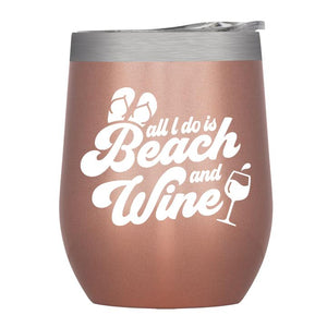 "Stainless Insulated Wine Tumbler – ""Beach and Wine"" in Rose Gold"