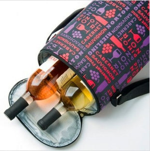 2-Bottle Insulated Wine Tote - Bottles and Glasses Motif