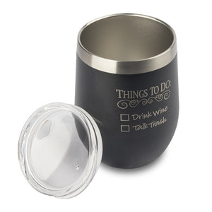 "Stainless Insulated Wine Tumbler – ""Things to Do"" in Black"