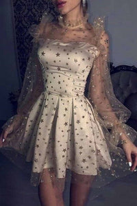 Cute Long Sleeve Grey Tulle Star Homecoming Dresses Above Knee Short Party XHQPST11729