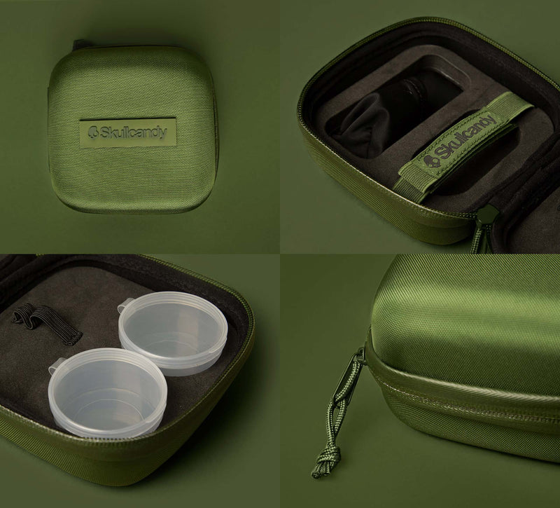 Skullcandy Bud Kit Protective Earbud Travel Case Limited Edition Olive 12 Moods
