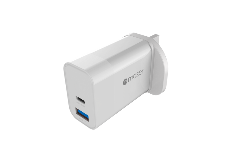Mazer Power Boost USB-C PD18W+USB-A QC3.0 Charger