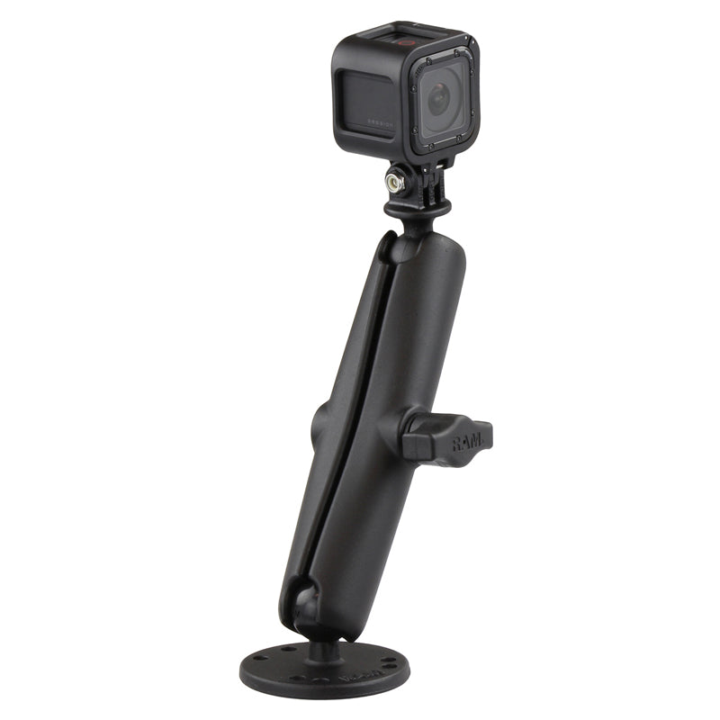 RAM® Drill-Down Mount with Double Socket Arm with Action Camera Adapter