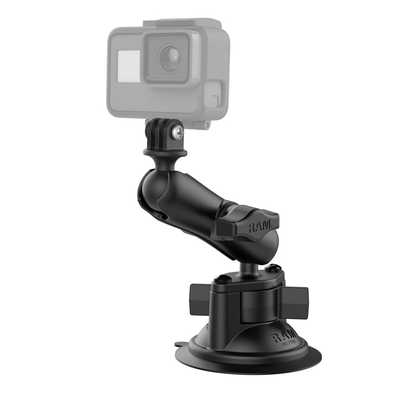 RAM® Twist-Lock™ Suction Cup Mount with Universal Action Camera Adapter