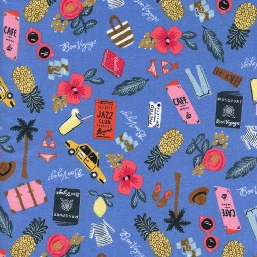 Rifle Paper Co Les Fleurs Bon Voyage Blue Novelty Fabric Fussy Cut Out of Print