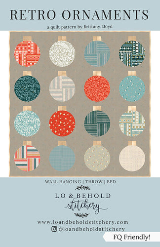 Retro Ornaments Quilt Pattern Multiple Sizes