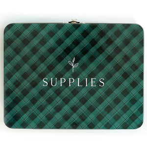 1Canoe2 Large Tin Supplies Box Green Gingham Vintage Style Clasp Storage