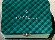 Load image into Gallery viewer, 1Canoe2 Large Tin Supplies Box Green Gingham Vintage Style Clasp Storage