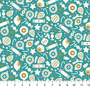 Figo Fabric Quilt Polar Magic Party Metallic Teal Background Holiday Christmas