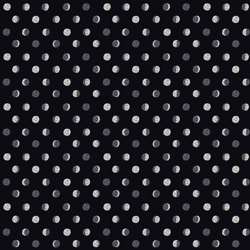 Figo fabrics celestial moon phases fabric white print on black background