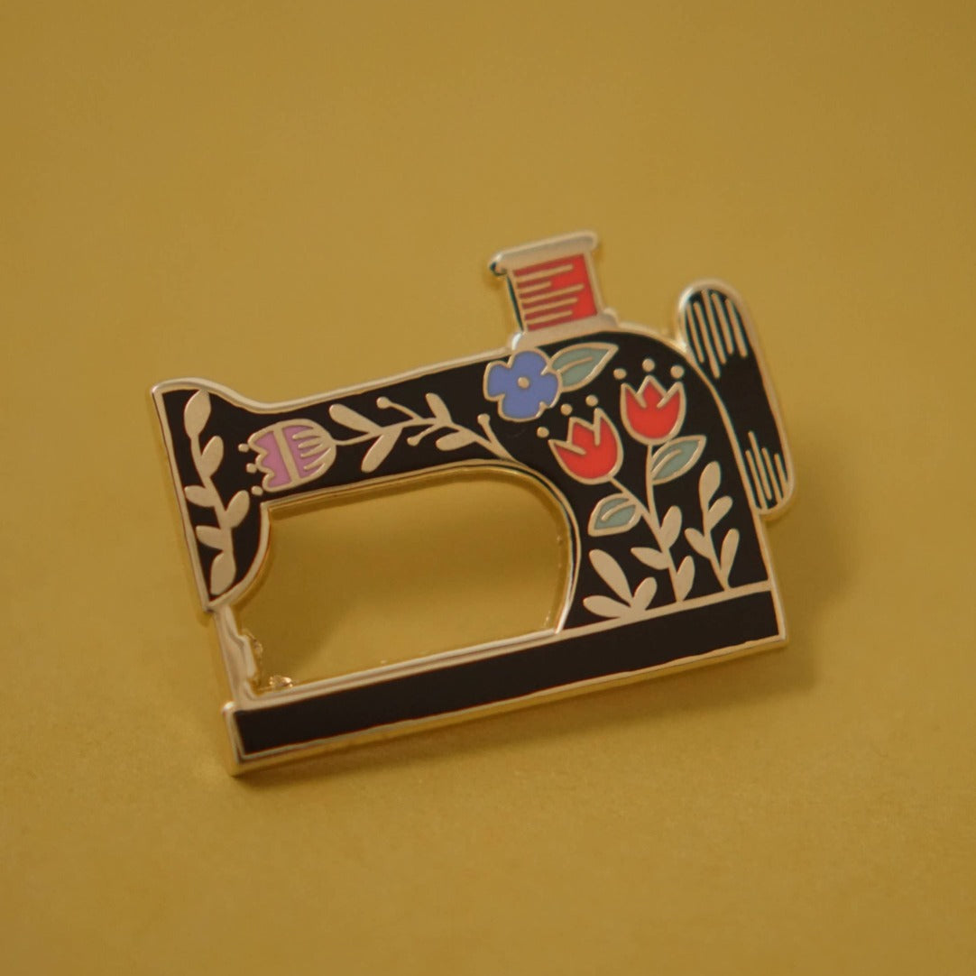Vintage Sewing Machine Enamel Lapel Pin Justine Gilbuena