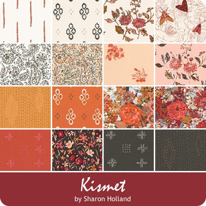 About the fabric collection:  Kismet by Sharon Holland  for Art Gallery Fabric  Sharon Holland harmoniously aligns hand drawn florals, classic paisley and earthy inspired motifs in this rich autumn filled collection. This quilting collection is colored in shades of berry, cinnamon, honey, cream and sable.