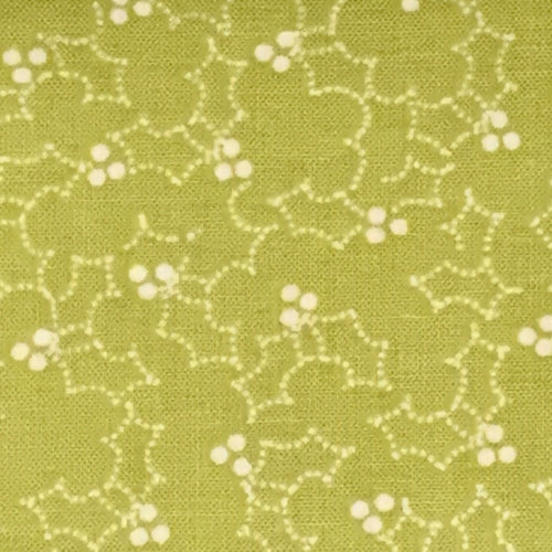 Aneela Hoey Cherry Christmas Holly Berry Outline Green Moda Fabric Out of Print OOP