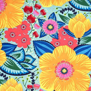 Anna Maria Horner Hindsight Honorable Mention Gold Fabric Big Floral Graphic Quilt Back