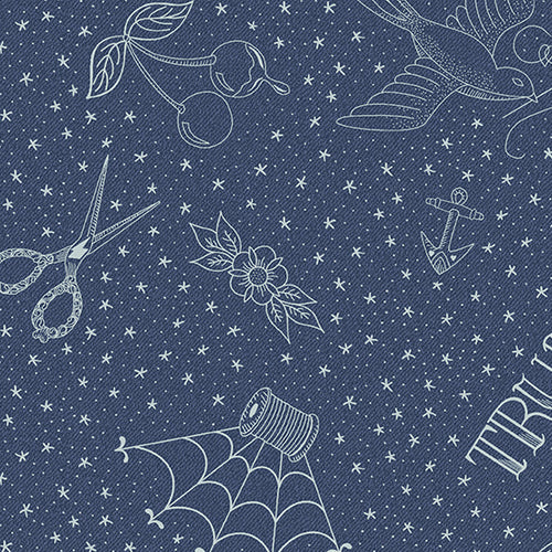Libs Elliott Draw Indigo Metallic Sewing Tattoo Notions Stars Sky Almost Blue Andover Fabric