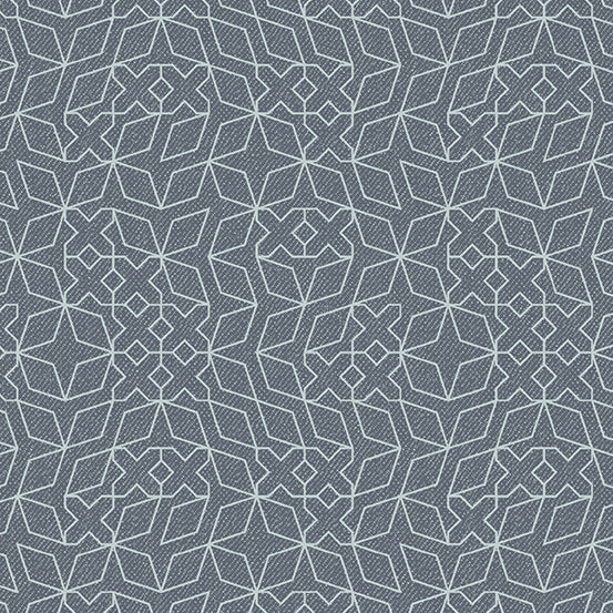 Libs Elliott Almost Blue Stitch Silver Metallic Concrete Gray Background Andover Fabric