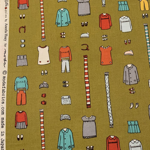 Aneela Hoey Little Apples Outfits Moda Fabric out of print hard to find OOP Olive green