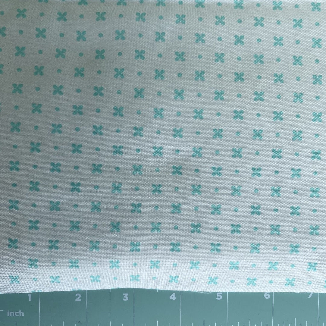 great background fabric by Bonnie and Connie with an aqua from Little Snippets Collection