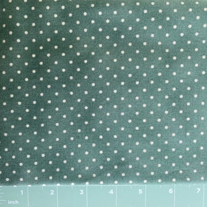 great green background with a uniform white dot 100%  cotton