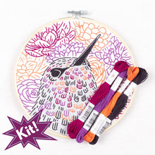 Load image into Gallery viewer, Poplush Blossom Hunter Hummingbird Flowers  Embroidery Kit Original design includes needle floss hoop pre-printed fabric instructions