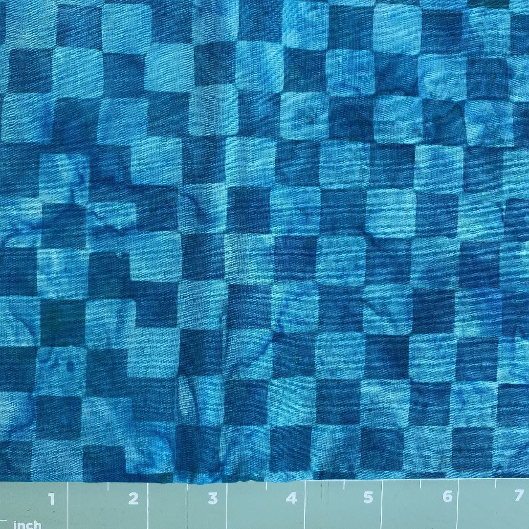 blue checked tone on tone batik