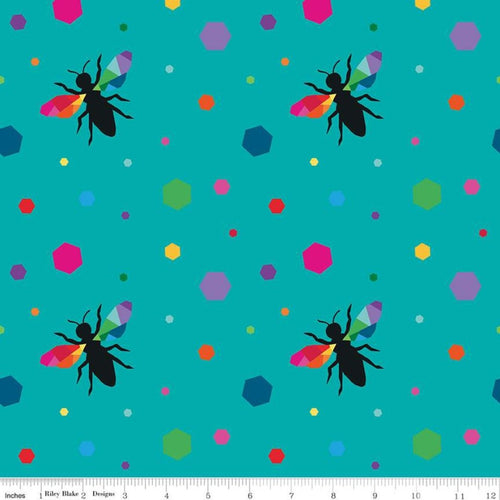 Create by Kristy Lea Quiet Play for Riley Blake Fabrics Turquoise Hexie Bees Rainbow Cotton