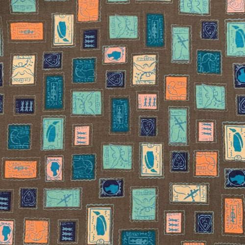 Cotton + Steel Homebody Stamps Charcoal Teal Kimberly Knight OOP HTF