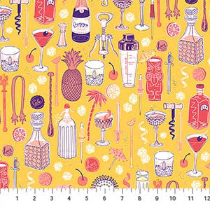 Figo Fabric Clink Barware yellow quilt fabric cocktail tiki