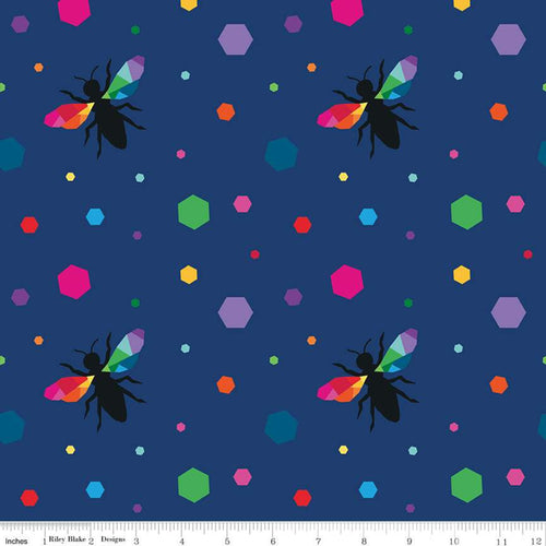 create hexie bees navy kristy lea rainbow colors