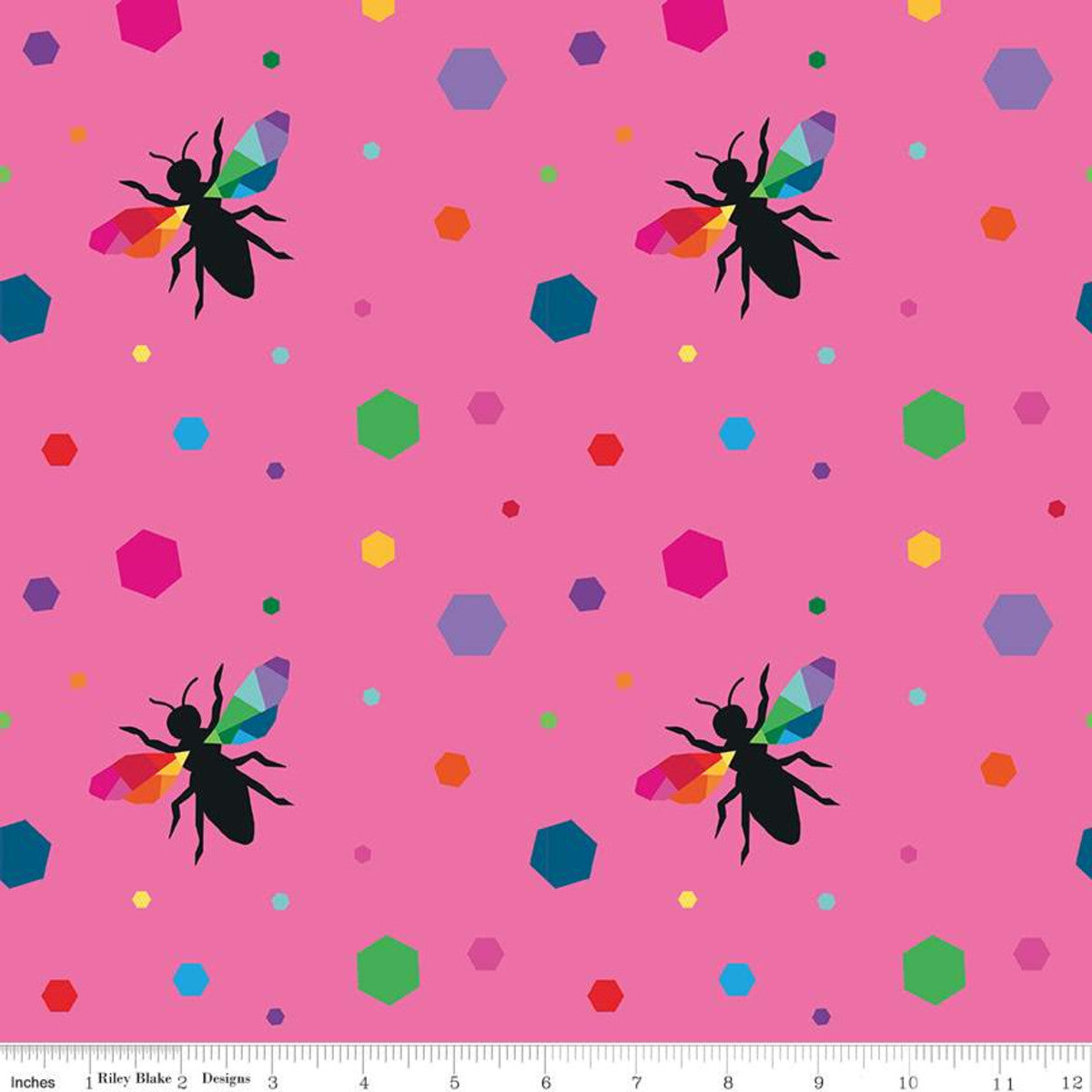 create hexie bees pink kristy lea rainbow colors