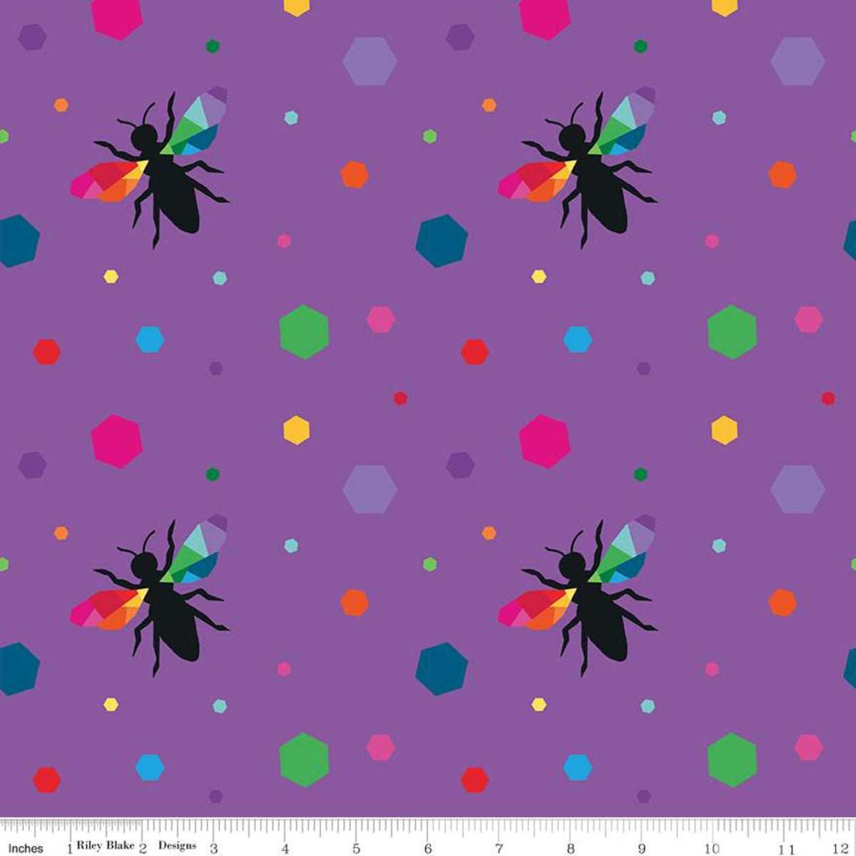 create hexie bees purple kristy lea rainbow colors