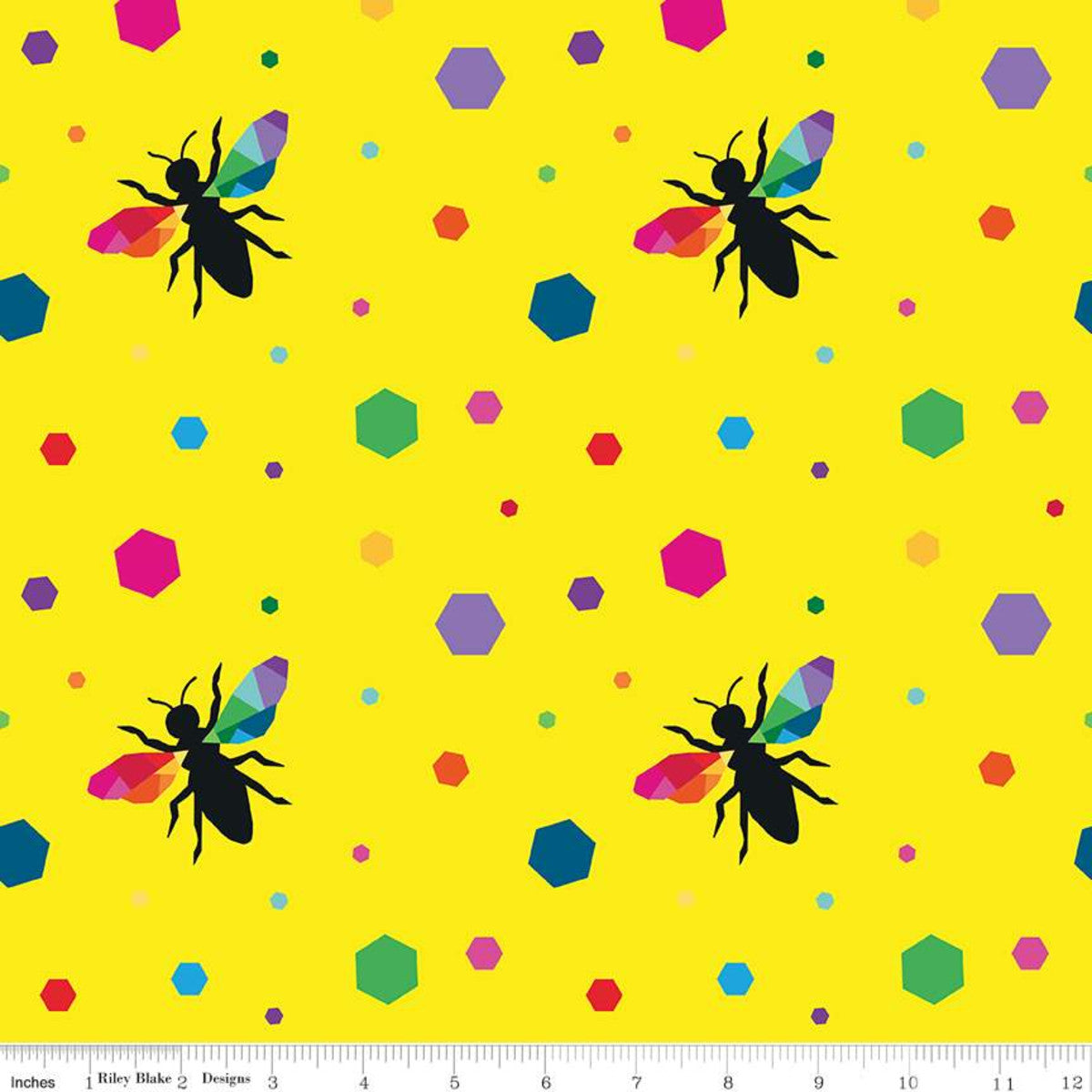 create hexie bees yellow kristy lea rainbow colors