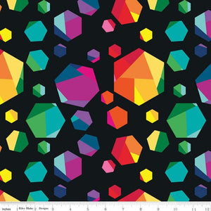 Create Fabric Geo Gems Black Rainbow Riley Blake Kristy Lea Quiet Play