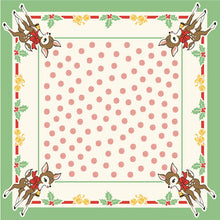 Load image into Gallery viewer, Deer Christmas Urban Chiks tablecloth vintage deer polka dots holly bells 52 X 52 Moda Fabrics