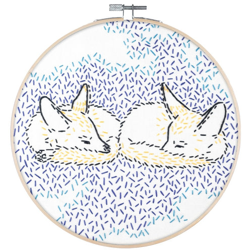 Poplush Dreaming Foxes Fox  Embroidery Kit Contents Original design includes needle floss hoop pre-printed fabric instructions